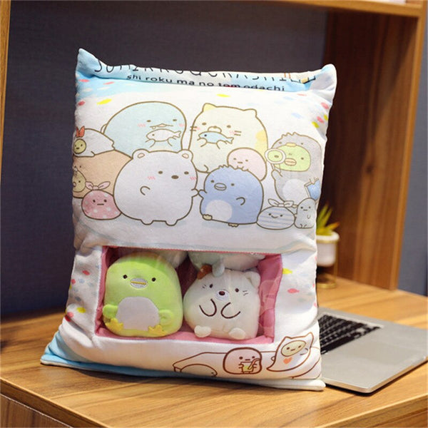 A Plushie Bag Pudding Toys Totoro Dinosaur Plush Toys Stuffed Soft Cute Animals Pillow Dolls for Children Kids Fashion Gifts
