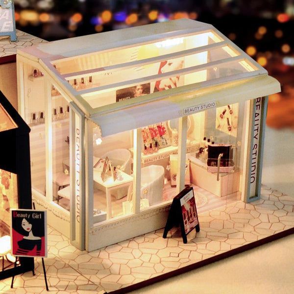 Diy Doll House Street Trend Shop Series Nail Shop Hair Salon Beauty Shop Boys And Girls Birthday Gift Valentine's Day Gift