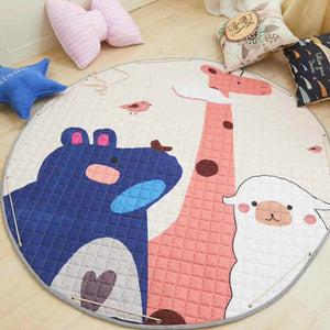 150cm Animal Baby Play Mats Round Kids Rug Toys Children's Carpet Cotton Developing Mat Rug Baby Puzzle Play Mat Storage Bag Toy
