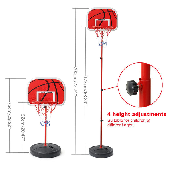 75-200CM Basketball Stands Height Adjustable Kids Basketball Goal Hoop Toy Set Basketball for Boys Training Practice Accessories