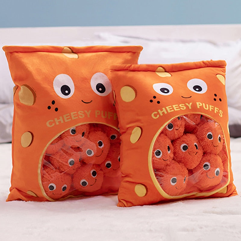 6pcs 9pcs a bag of cheesy puffs toy stuffed soft snack pillow plush puff toy kids toys birthday christmas gift for child