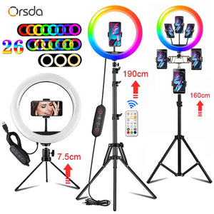Orsda 10-13 inch RGB Ring Light tripod LED Ring Light Selfie Ring Light with Stand RGB 26 colors video light For Youtube Tik Tok