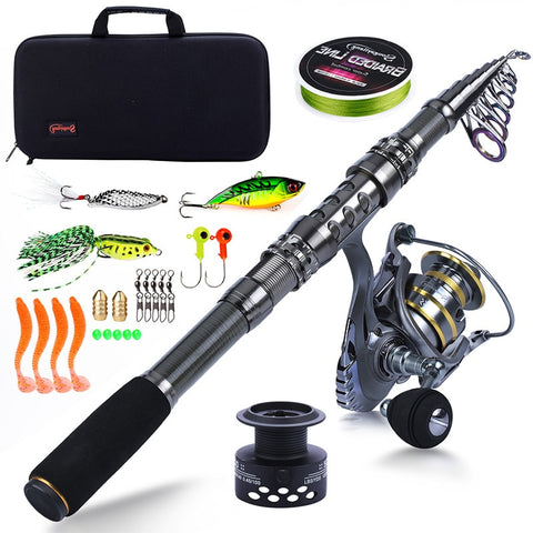 Sougayilang Fishing Rod Combos-Telescopic Fishing Pole with Free Spool Spinning Reel Fishing Carrier Bag for Travel Fishing