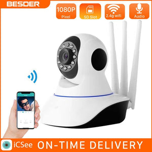 BESDER Smart 1080P WiFi IP Camera Wireless Indoor 2MP IP Camera 360 Degrees Home Panoramic Night Vision Max 64GB iCSee App