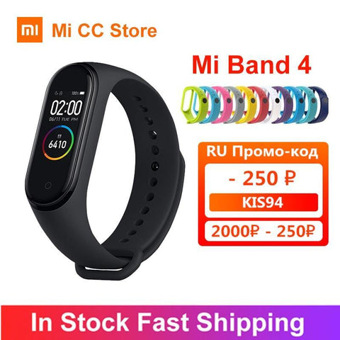 In Stock Xiaomi Mi Band 4 AMOLED Screen Heart Rate Fitness Tracker Miband 4 Bluetooth5.0 Waterproof 5 color Smart Sport Bracelet