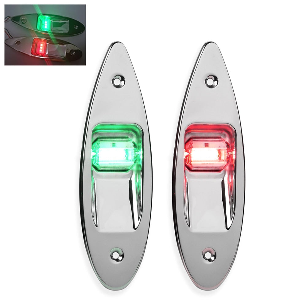 Boat Signal Lamp Side Marker Light Navigation Light Red Green Stainless Steel Waterproof Boat Yacht Warning Light Signal Lamp