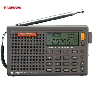 Radiwow R-108 FM Stereo Digital Portable Radio Sound Alarm Function Display Clock Temperature Speaker can as Parent/Friend gift