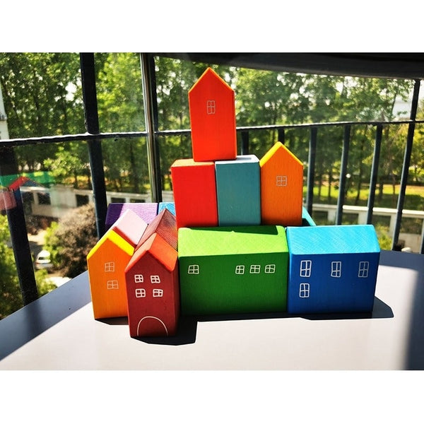 Baby Wooden Toys Elemental Rainbow Stacking Blocks /Unpaint Wood Tree Building Blocks Car Volcano Coral Sea Wave Montessori Toy