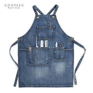 GOOPEEG high quality washed denim apron home kitchen fashion work haircut baking garden art milk tea custom LOGO