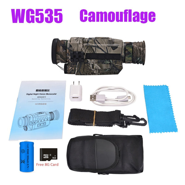 WG535 Digital Night Vision Monoculars 200m full dark DVR NIght Vision Scope 5X Optical Magnification Photo Video Hunting Cameras