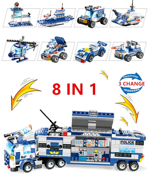 8Pcs/lot Robot Aircraft Car City Armed Police SWAT Truck Building Blocks Sets Brinquedos Playmobil Bricks Educational Kids Toys