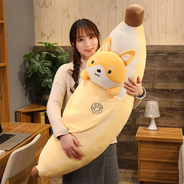 New Huggable Cute  Soft Plush Fruits Toy Yellow Banana Plush Plants Toys Banana Pillows For Home Bed Baby Kids Birthday Gifts