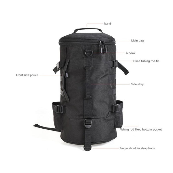 23L Fishing Bag  Black Cylindrical Large Capacity Fishing Tackle Backpack Outdoor Shoulders Bag  Fishing Tackle Storage Bags