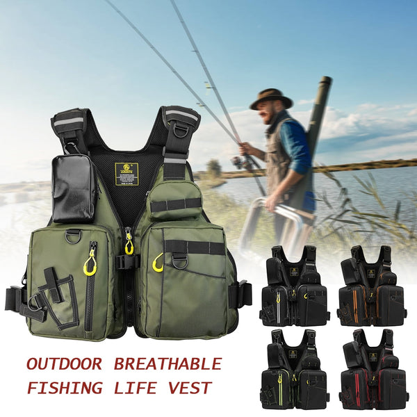 Fishing Life Jacket Multiple Pockets Floatation Vest Adults Buoyancy Waistcoat UNISEX Multi-Function Multi Pocket Fishing Vest