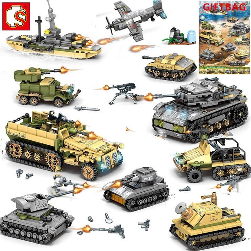 1061Pcs Military Technic Iron Empire Tank Building Blocks Set Weapon War Chariot Creator Army WW2 Soldiers Kids Toys Sembo Block