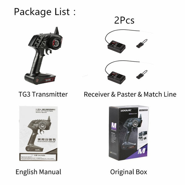 Original High Quality GoolRC TG3 2.4G 3CH RC Transmitter Digital Radio Remote Control Transmitter with Receiver for RC Car Boat