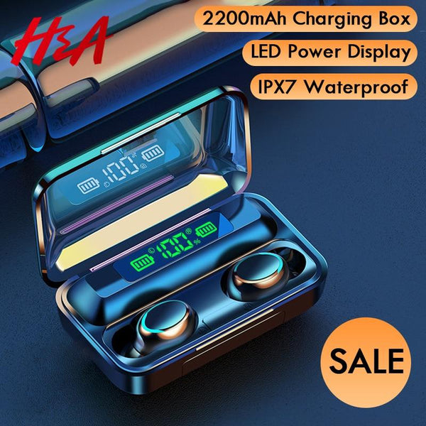 H&A Bluetooth V5.0 Earphones Wireless Headphones With Microphone Sports Waterproof Headsets 2200mAh Charging Box For Android