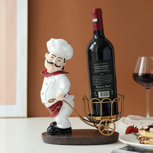 Resin Chef Wine Rack Kitchen Teatable Bar home decoration Wine Craft Christmas Gift Handcraf Shelf Metal Sculpture Wind Stand