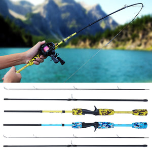 Sougayilang 1.7M Spinning/Casting Hand Lure Fishing Rod Pesca Portable 2/3 Section Carbon Ultralight Mini Travel Surf