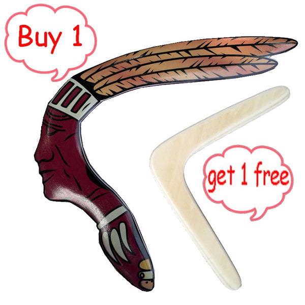50m Flying Return High Quality Handmade wood Boomerang Fun Outdoor Game Sports throw and catch Flying Disc saucer