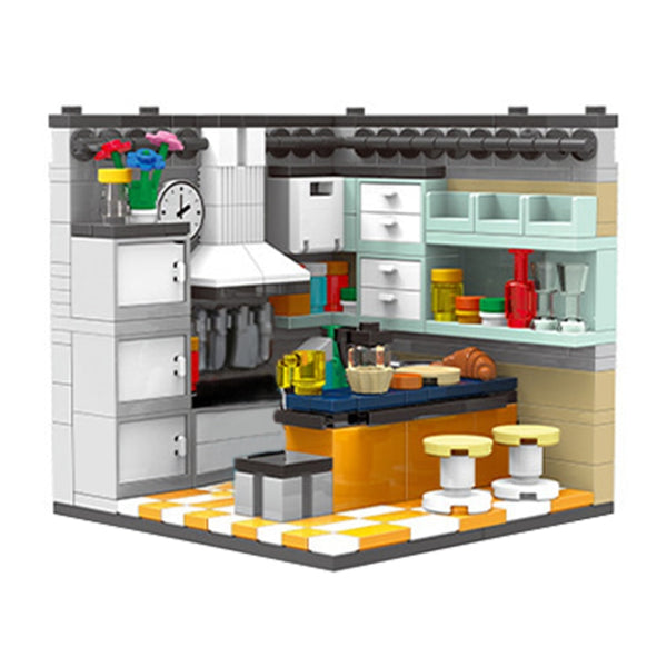 292Pcs Compatible with Brands City MOC Kitchen Building Blocks House Figures Food Accessories Bricks Parts Kits DIY Kids Toys