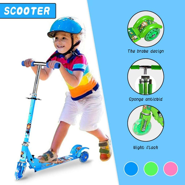 Funny Kick Scooter for Kids 3 Wheel Scooter LED Light Up Wheels Adjustable Height Toddler Scooter Outdoor Toy Kickboard 20JUN19
