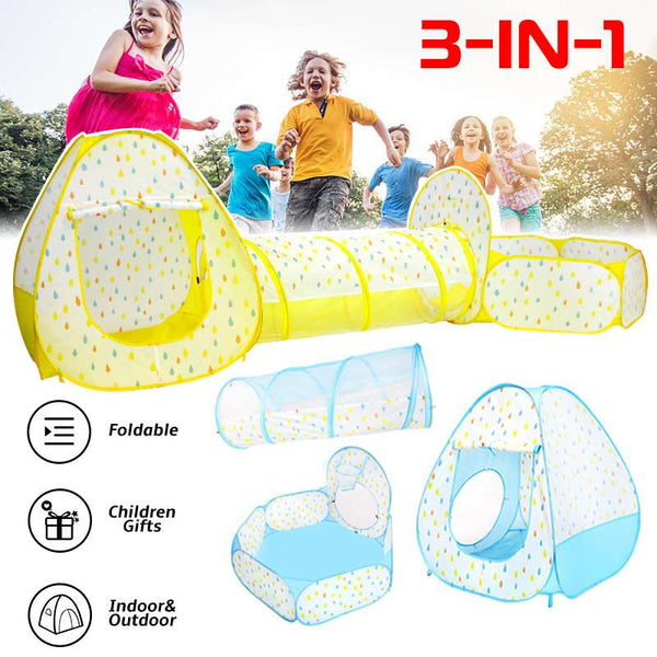 3 in 1 Foldable Large Play Tent Kids Game Dots Printed Ocean Ball Outdoor Adventure Play Tent Playhouse Kids Tent