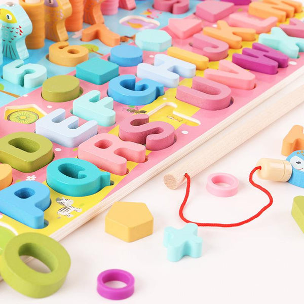 Montessori Educational Wooden Toys For Kids Board Math Fishing Count Numbers Digital Shape Match Early Education Child Gift Toy