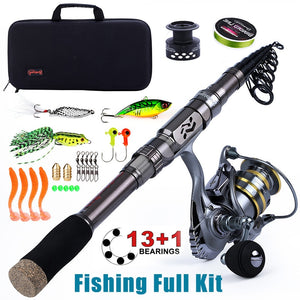 Sougayilang Fishing Full Kit -1.8-2.4m Telescopic Fishing Pole with Free Spool Spinning Reel Fishing Bag for Travel Fishing