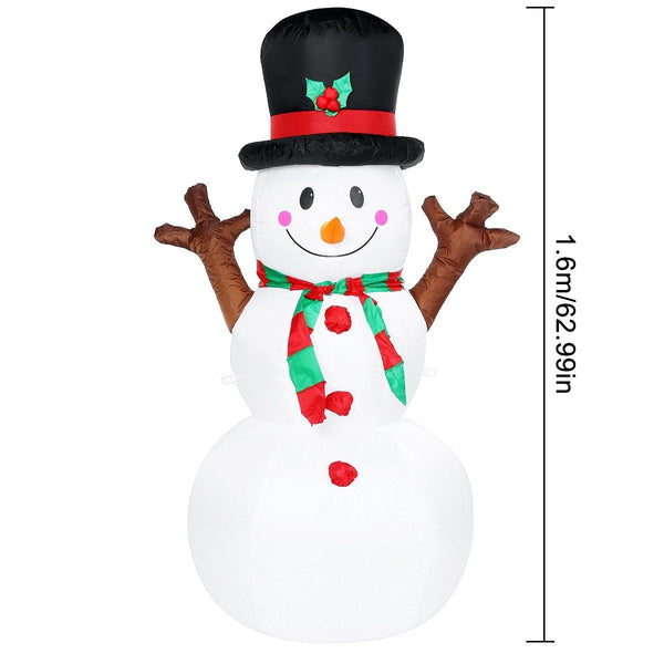 1.6M LED Air Inflatable Snowman Christmas Decorative Ornaments Home Garden Yard Inflatable Props With LED Lighting Kids Toy Gift