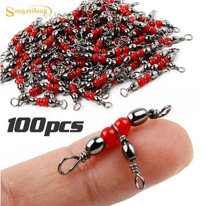 Sougayilang High Quality 100pcs Fishing Tackle 3-way Fishing Swivel Tangle Fishing Swivel Rolling  Brass Barrel Accessories (Red)
