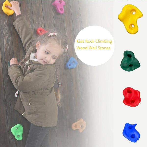 15Pcs/Set Kids Fitness Climbing Rock Wall Stones Assorted Color Rock Climbing Wall Stones Hand Feet Holds Grip Kits Random Color