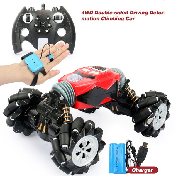 2.4GHz Remote Control Car One-button Deformation Rechargeable Gesture Sensing Drift Twisting Car Off-road Vehicle Toys For Kids