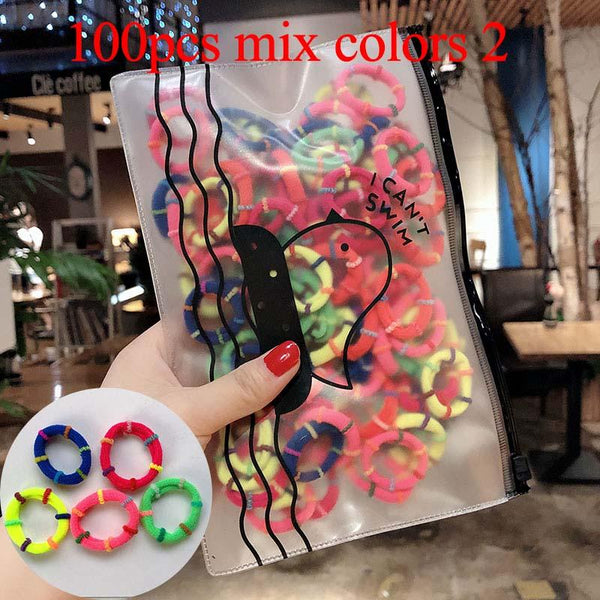 50/100pcs/Set Girls Colorful Nylon Small Elastic Hair Bands Children Ponytail Holder Scrunchie Headband Kids Hair Accessories