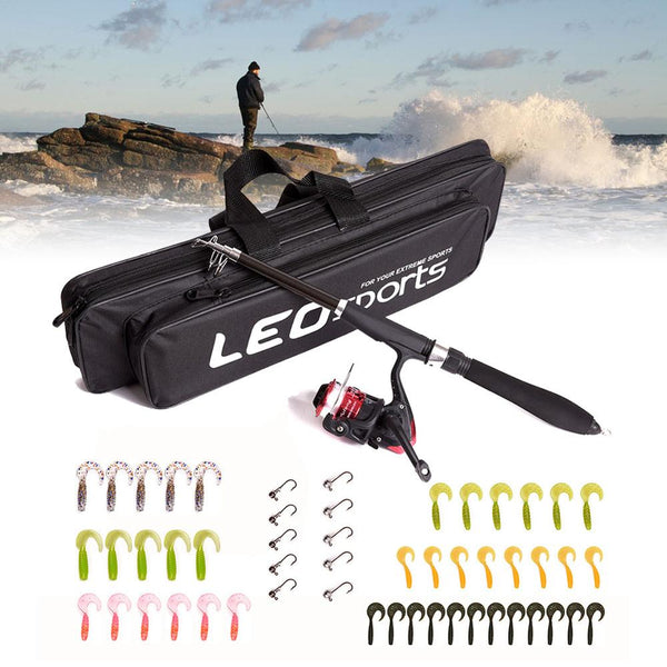 Spinning Wheel Soft Bait Fishing Gear Set Telescopic Fishing Rod and Spool Combination Kit With Full Kits Lure Case & Carry Bag