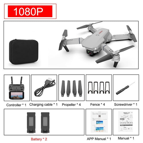 SHAREFUNBAY E88 pro drone 4k HD dual camera visual positioning 1080P WiFi  fpv drone  height preservation rc quadcopter