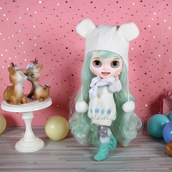 DBS blyth doll icy toy suit winter outfit hat stocking shoes snow dress