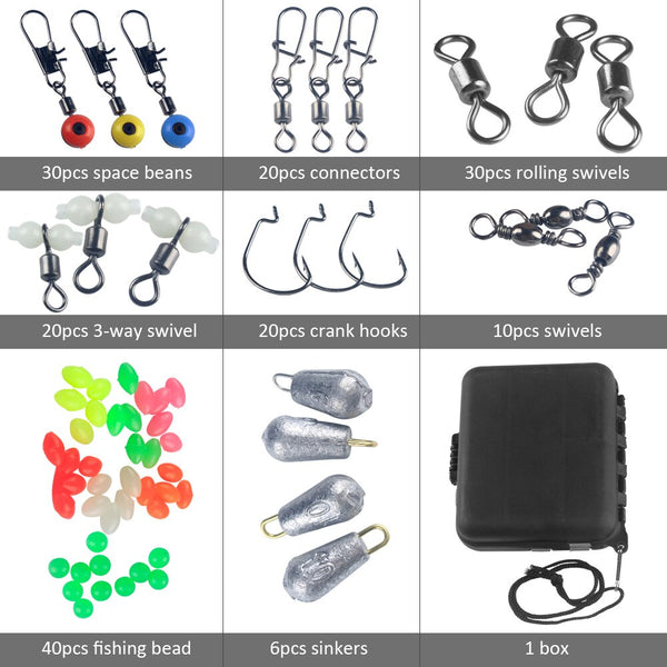 177pcs Fishing Accessories Kit Crank Hooks Sinker Weights Swivels Snaps Connectors Beads Fishing Tackle Box Set