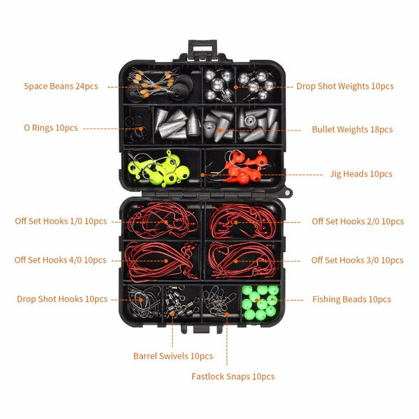 Magreel Fishing Tackle Box Set, 153pcs Fishing Tool Accessories with Fishing Lure Hooks Jig Heads O-Rings Beans for Carp Fishing