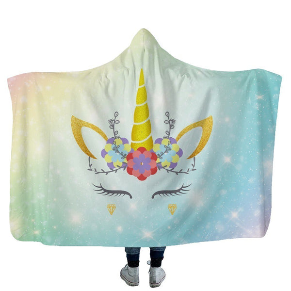 27 Colors Unicorn Plush Hooded Blanket For Adults Kids Watching TV Reading Winter Warm Wearable Fleece Hoodie Throw Blankets