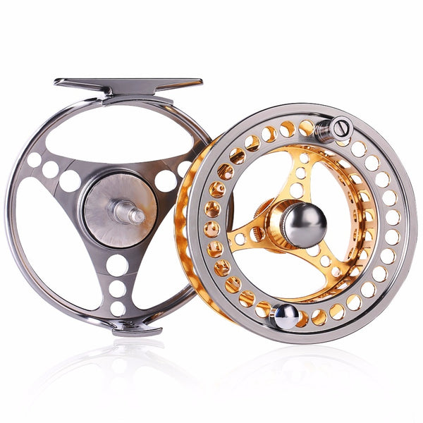 Sougayilang Large Arbor Fly Fishing Reel 2+1 BB High Strength Die Casting Aluminium Alloy Spool Fly Reels Fishing Tackle