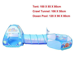 3 in 1 Set Foldable Large Pool Kids Crawling Tunnel + Play Tents + Baby Ocean Ball Pool Children Game Toys Kids Play House Set