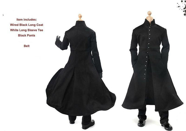 1/6 Scale Male Black Cloak Coat Pants Belt Set Models for 12''Figures Bodies Accessories Toys Gifts