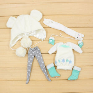 DBS blyth doll icy toy suit winter outfit hat stocking shoes snow dress (dress)