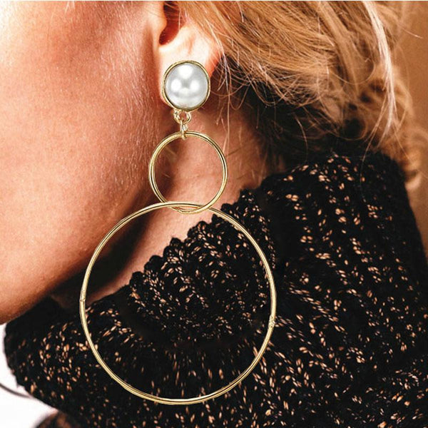 Simple fashion gold color Silver plated geometric big round earrings for women fashion big hollow drop earrings jewelry