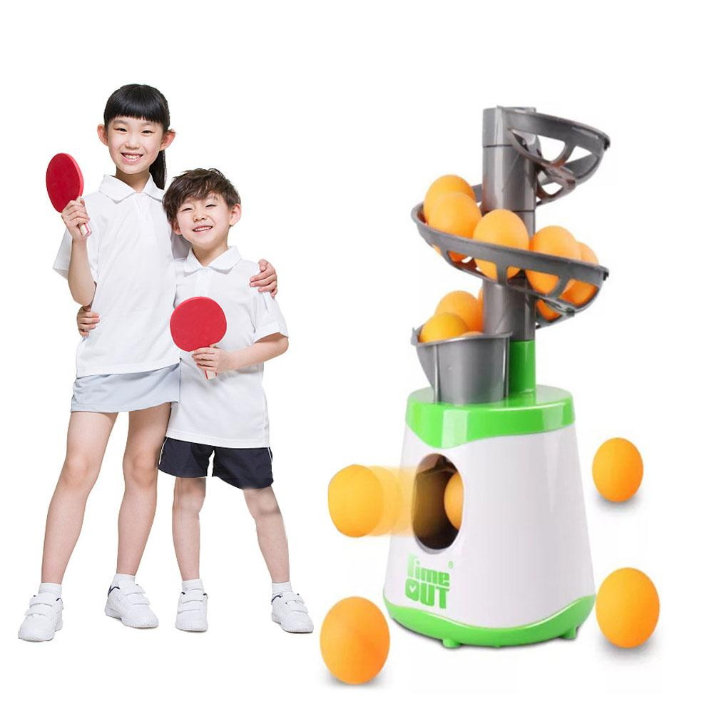 Table Tennis Exerciser Practice Children's Toys Practicing Ping Pong Ball Automatic Launcher Sports Training Equipment (Green)