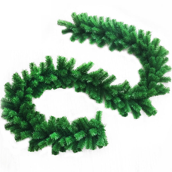 2.7m Artificial Green Christmas Garland Wreath Xmas Home Party Christmas Decoration Pine Tree Rattan Hanging Ornament For Kids