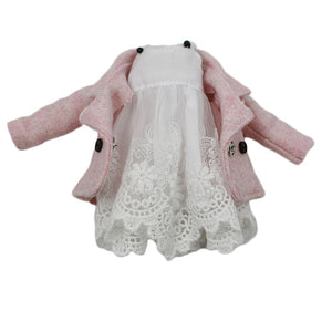 Outfits for Blyth doll white lace dress pink coat for the  JOINT body elegant dressing 1/6 BJD icy dbs (like the picture)