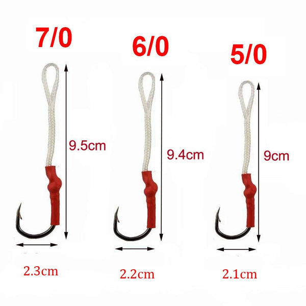 JSM 50pcs/lot Stainless Steel Fishing Hook With PE Line Fly Tying Jig Assist Bait Fish hooks Carp Fishing hooks size 1/0-10/0