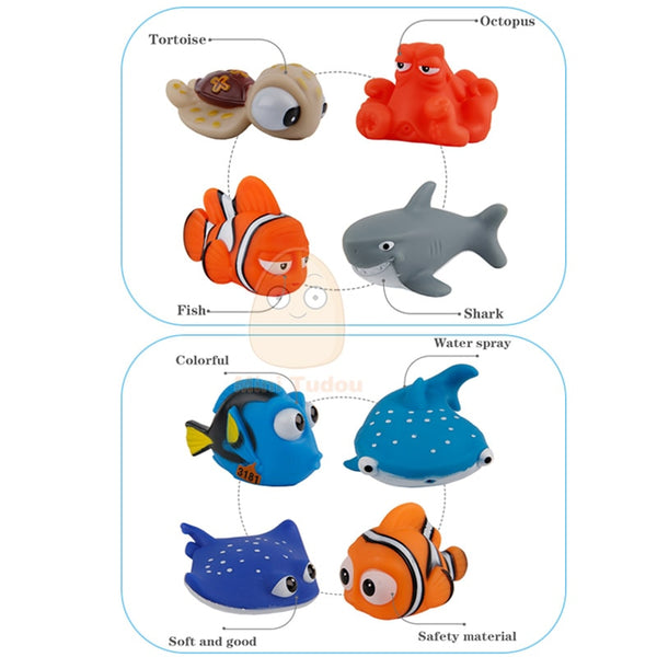 Baby Bath Toys Finding Fish Kids Float Spray Water Squeeze Aqua Soft Rubber Bathroom Play Animals Bath Figure Toy For Children